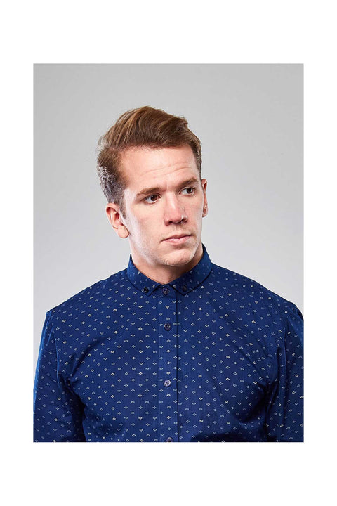 Alfie Blue contemporary collar shirt-Mens shirt casual look-Printed shirts for men-Skyrta mens shirts