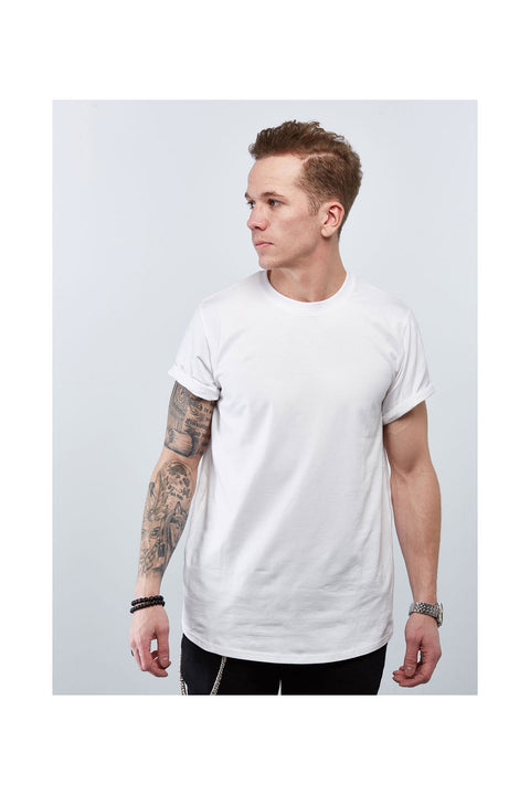 Basic white long tshirt for men-Skyrta tshirt-Designed in Iceland-Csual tee shirt