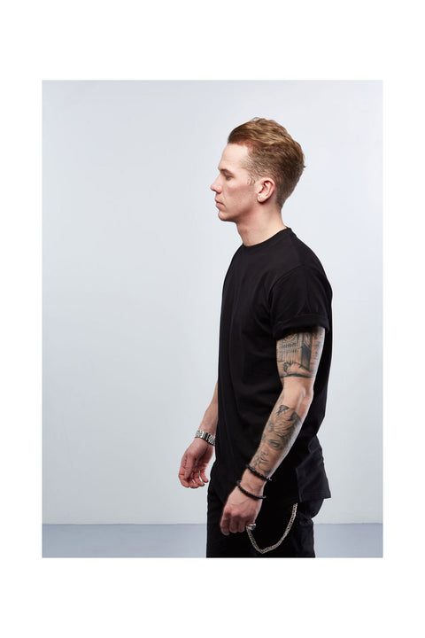 Black mens tshirt-Long tshirt for men-designed in Iceland-scandinavian tshirts
