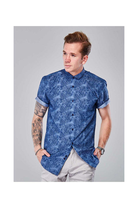 Binni printed cotton shirt-Icelandic designed shirts-European half sleeves shirt-print