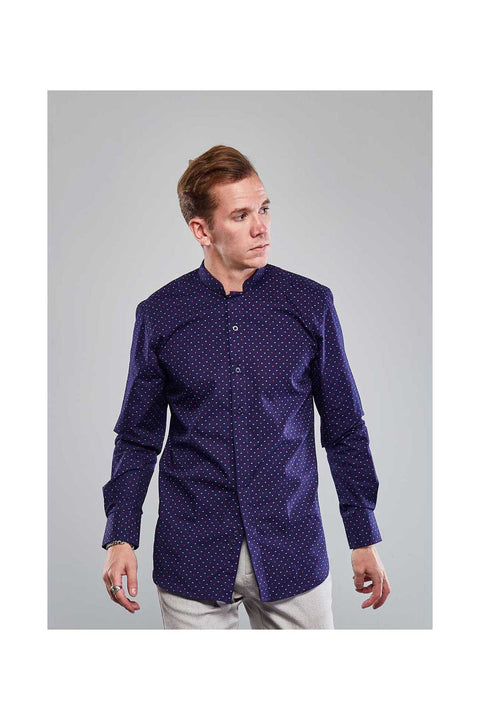 Deep purple mens shirt-Contemporary collar men-Mens casual shirts