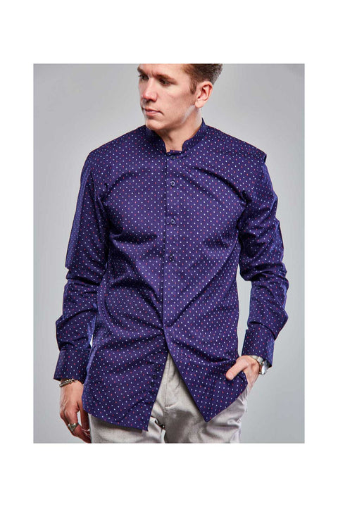 Deep purple mens shirt-Contemporary collar men-Mens purple shirt