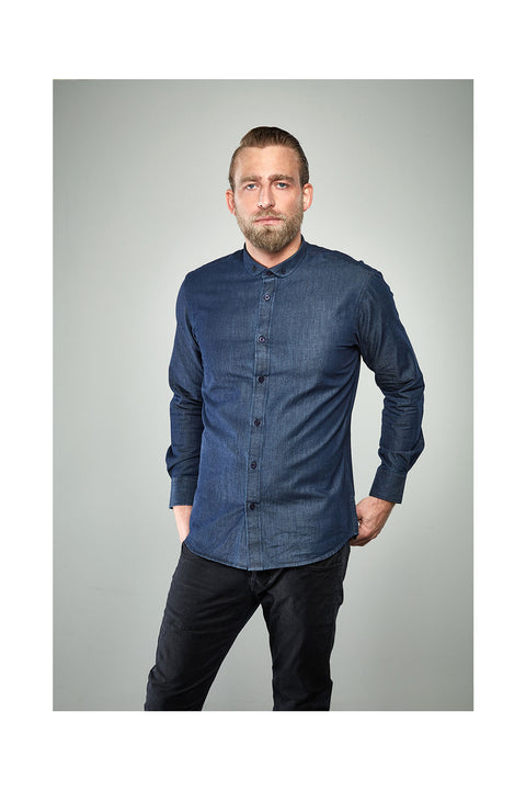 Fribbi-mens-navy-blue-denim-shirt casual for men