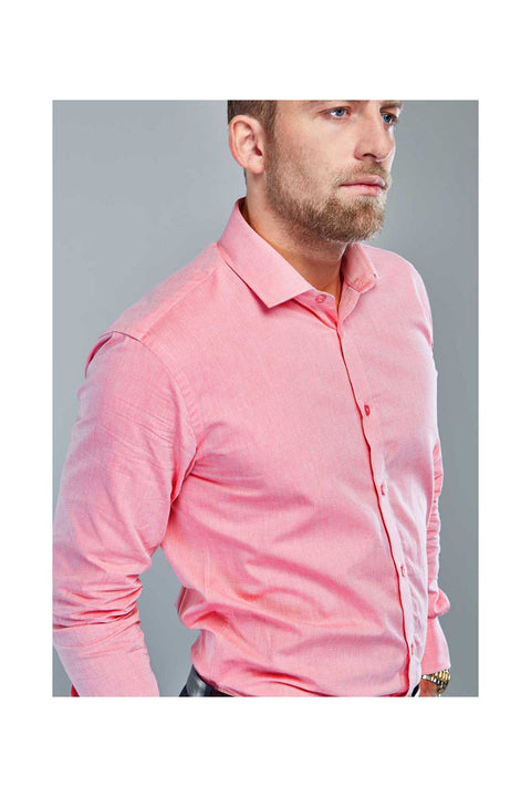George Flamingo pink shirt-mens flamingo tailored shirt-Long sleeves evening dress shirt-Cutaway collars for men-Dress shirts made in Iceland-Cool shirts