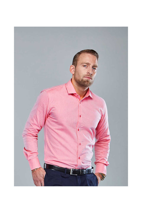 George Flamingo pink shirt-mens flamingo tailored shirt-Long sleeves evening dress shirt-Cutaway collars for men-Dress shirts made in Iceland