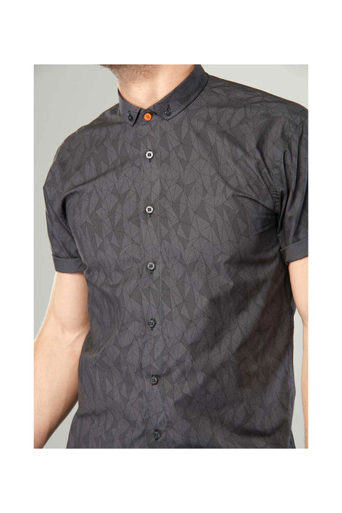 kari printed shirt-mens casual short sleeve shirt-grey mens casual printed shirt