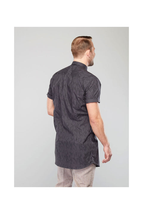 kari printed shirt-mens casual short sleeve shirt-grey mens casual printed shirt-Long shirt