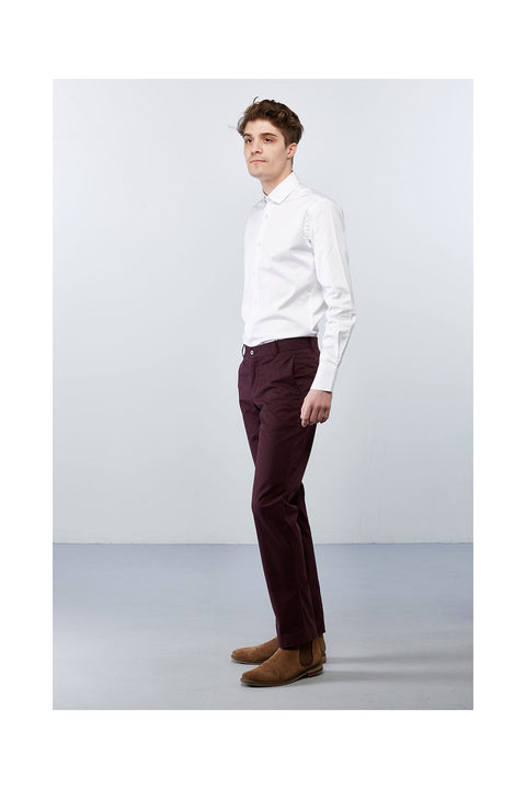 Matorida-burgundy-cotton-trousers-slim-fit size 32