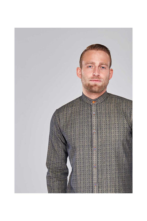 Omar Tribal shirts for men-made in iceland size large-Mens casual shirt grey printed