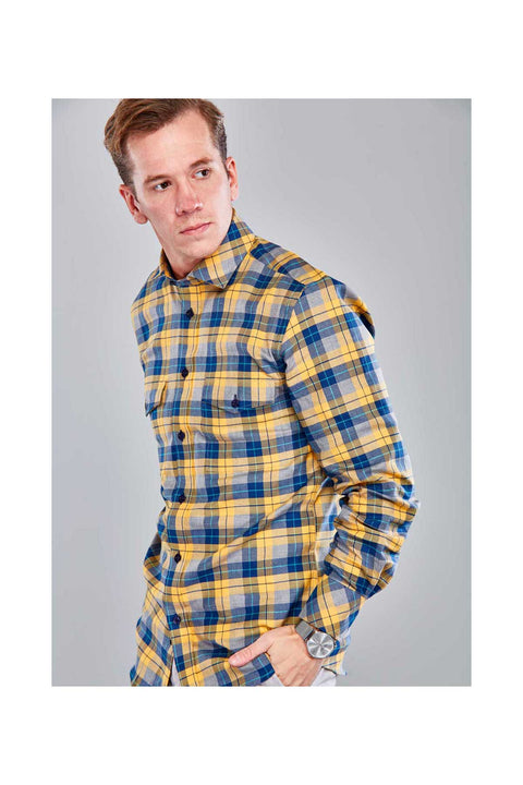 Reynir Fannel mens shirt-Shirts in Iceland-Mustard yellow mens shirt-Checkered fannel shirt size 38-with detail contrast-Fannel mens shirt