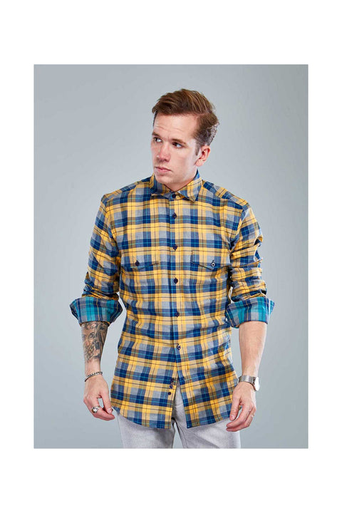 Reynir Fannel mens shirt-Shirts in Iceland-Mustard yellow mens shirt-Checkered fannel shirt size 38-with detail contrast-mens wear