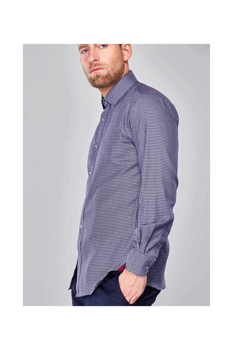 Saimo Houndstooth causual shirt for men-Mens casual shirt size 42-Purple shirt