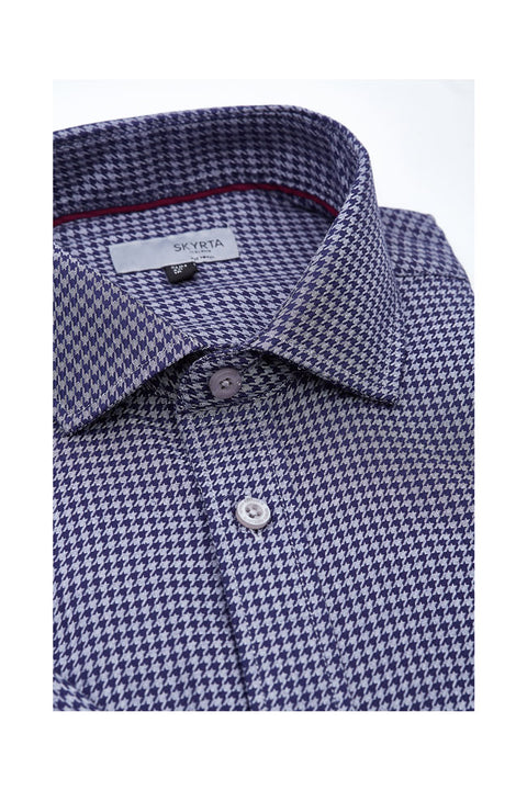 Saimo Houndstooth causual shirt for men-Mens casual shirt size 42-Soft casual mens dress shirt