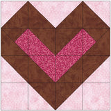 Center Filled Heart Quilt Block Pattern Download