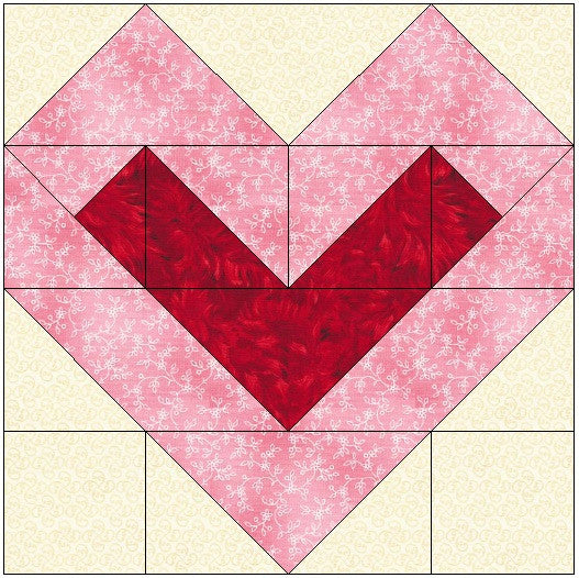 Center Filled Heart Quilt Block Pattern Download The