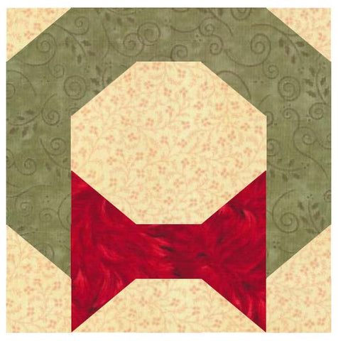 Christmas Wreath Quilt Block Pattern Download