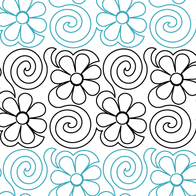 Flower Swirls 4 Quilt Design