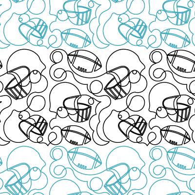 Footballs and Helmets Quilt Design