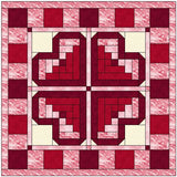 Log Cabin Heart Quilt Block Pattern Download