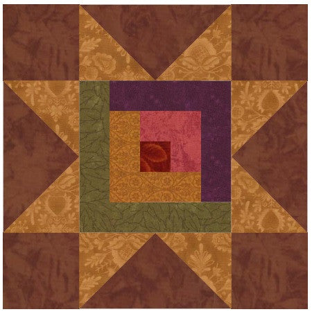 Log Cabin Star Quilt Block Pattern Download