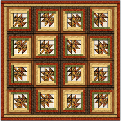 Maple Leaf Log Cabin Quilt Block Pattern Download The Feverish Quilter