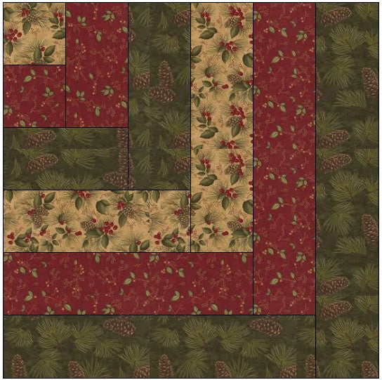 Modified Log Cabin Quilt Block Pattern Download