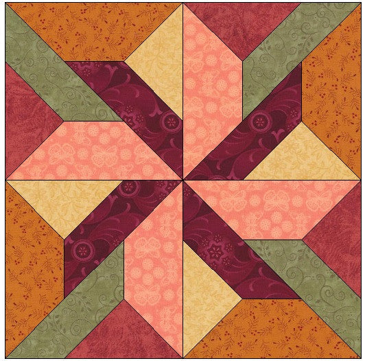 Pinwheel with a Twist Quilt Block Pattern Download