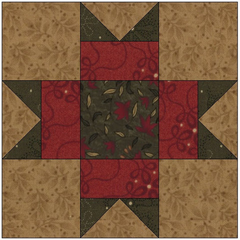 Points on Square Quilt Block Pattern Download