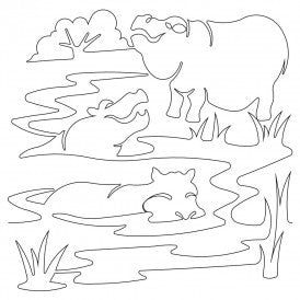 Safari Hippos Quilt Design