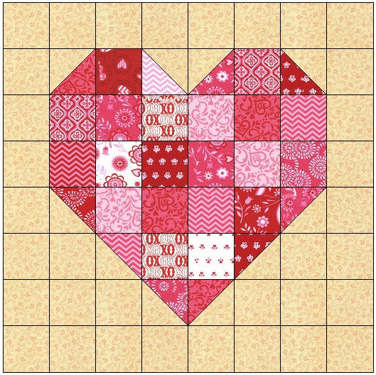 Scrappy Heart Quilt Block Pattern Download The Feverish