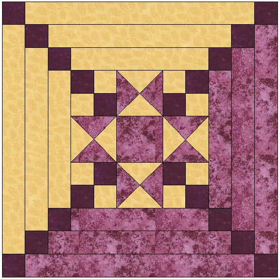 Star Center Log Cabin Quilt Block Pattern Download