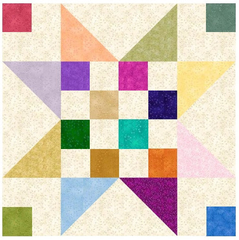 Stepping Stars Quilt Block Pattern Download