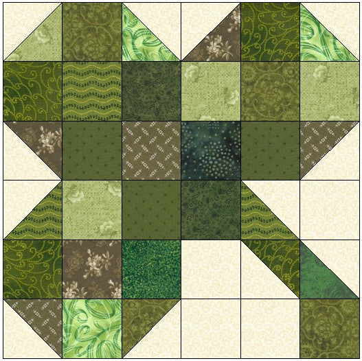 Scrappy Three Leaf Clover Quilt Block Pattern Download