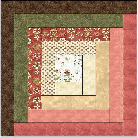 Traditional Log Cabin Quilt Block Pattern Download
