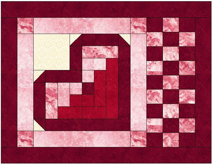 log cabin heart quilt block