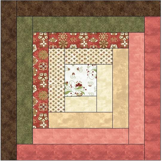 traditional log cabin block long arm quilting service
