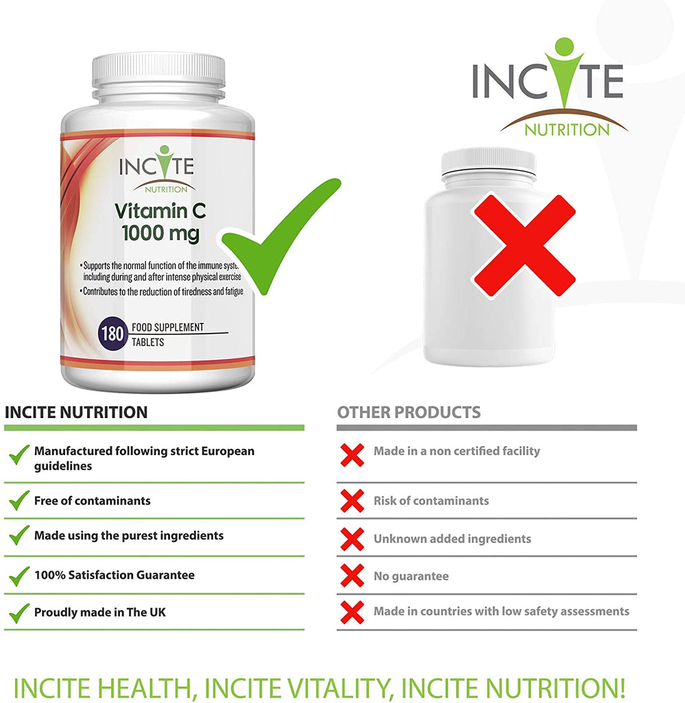 Vitamin C 1000mg | 180 Premium Tablets (6 Month's Supply) | High Dose Quality Ascorbic Acid | Suitable for Vegetarian & Vegans| Made in The UK by Incite Nutrition®