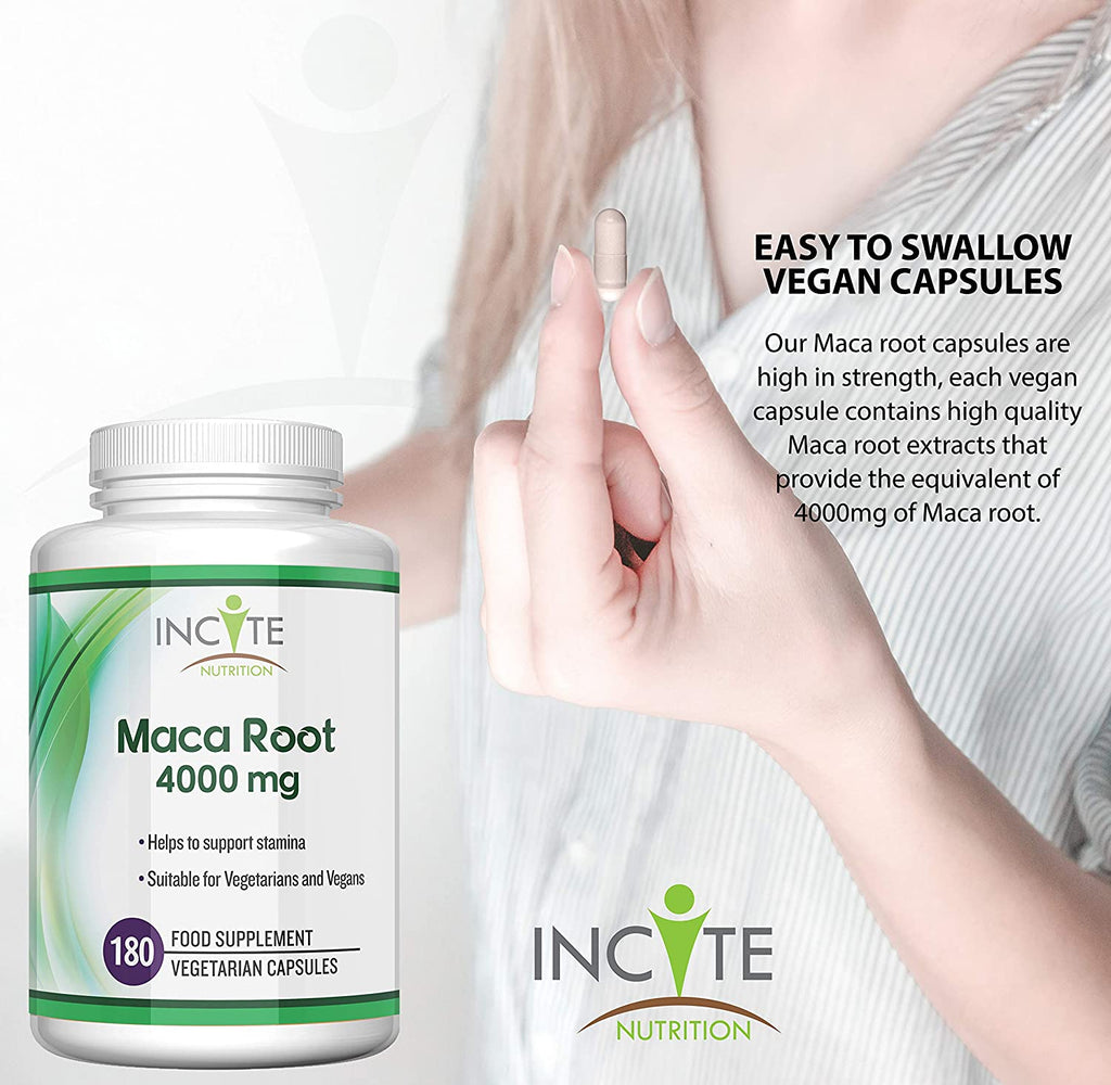 Maca Root Capsules 4000mg, 180 Capsules (6 Month Supply) Vegetarian Capsules not Powder, Oil or Tablets - Vegan Maca