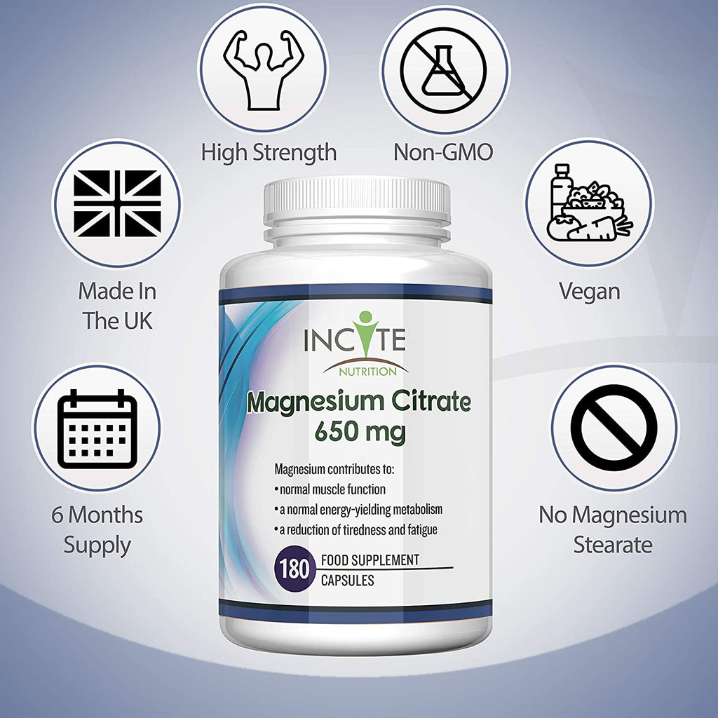 Magnesium Citrate Supplement 650mg | 180 Premium Vegan Capsules not Tablets (6 Month's Supply) | High Strength Magnesium Citrate | Suitable for Vegetarian | Made in The UK by Incite Nutrition®
