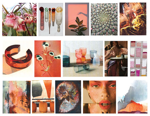 Marie Oliver brand inspiration, a collage of colorful images that inspire our team.