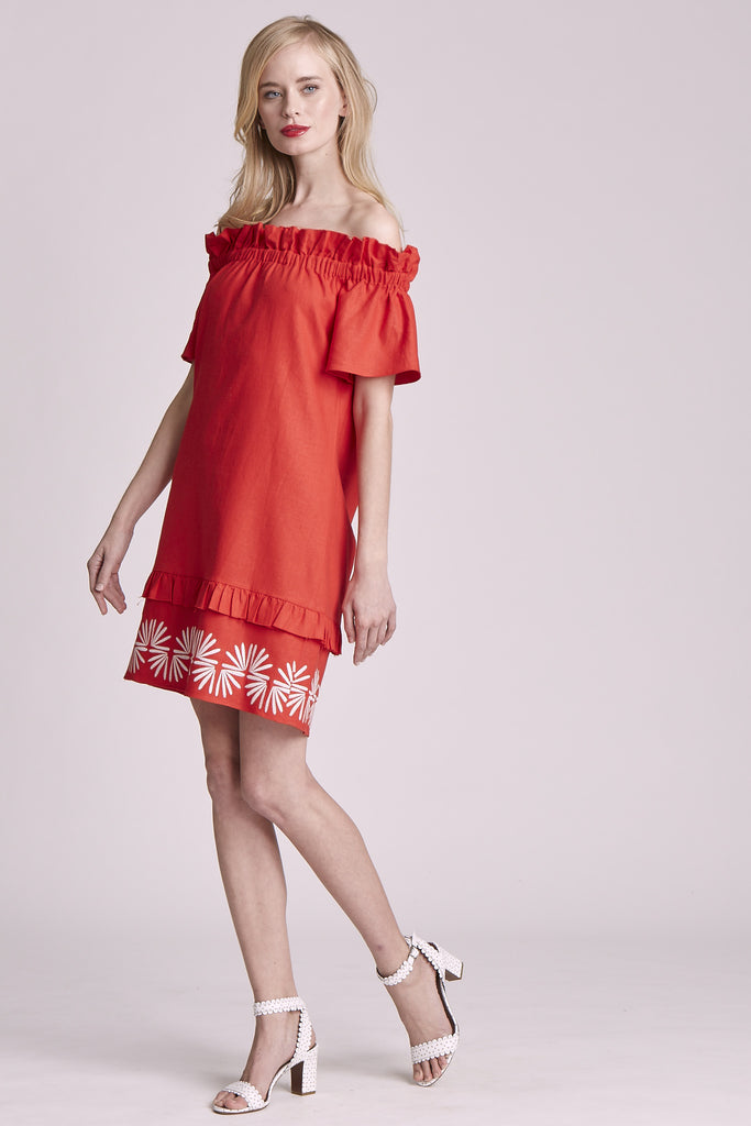 PIPER EMBROIDERED LINEN DRESS