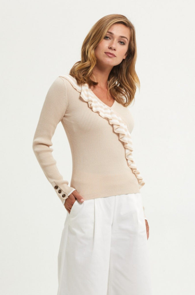 RUFFLE LS KNIT TOP