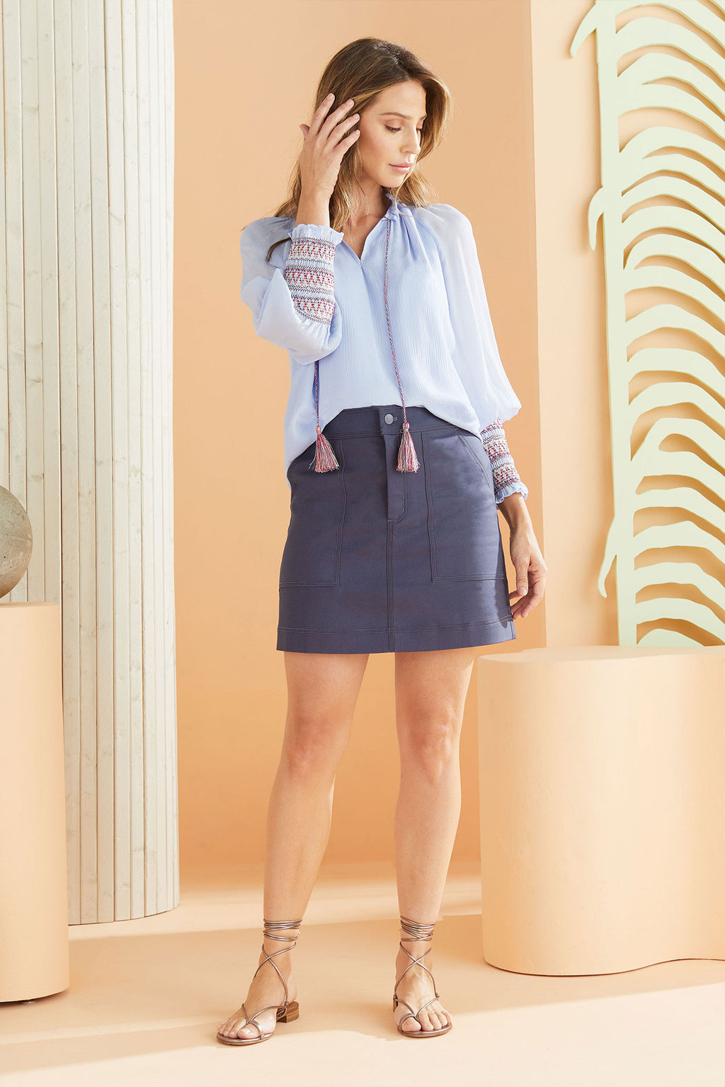 Carmen Blouse in Periwinkle worn with the Braden Skirt in Slate.