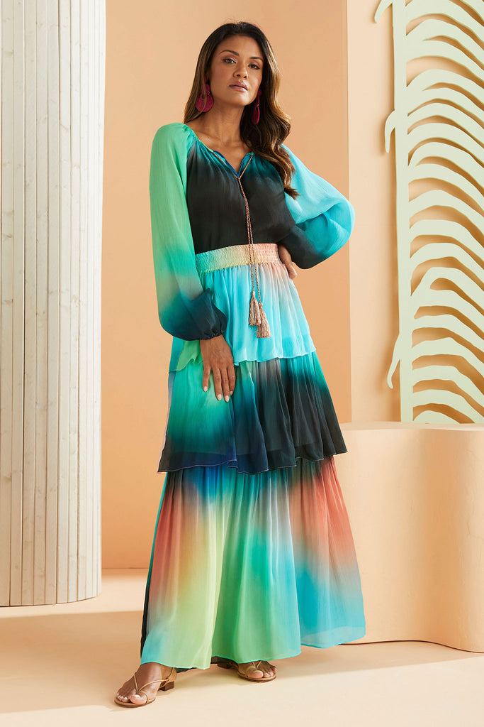 Andrea Maxi Skirt in Electric Ombre worn with the Matching Berkley Top
