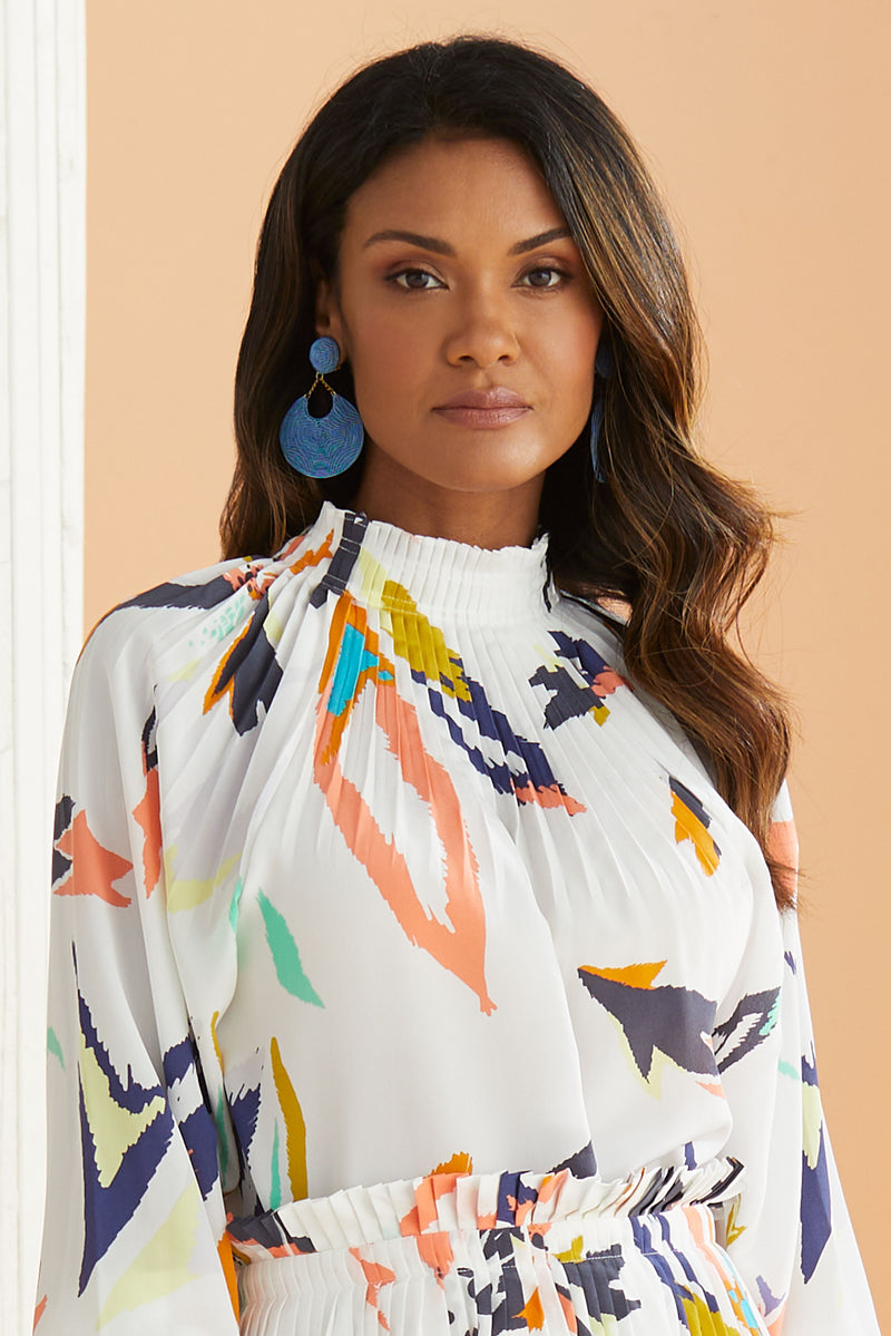 Pleated neck blouse with colorful floral design