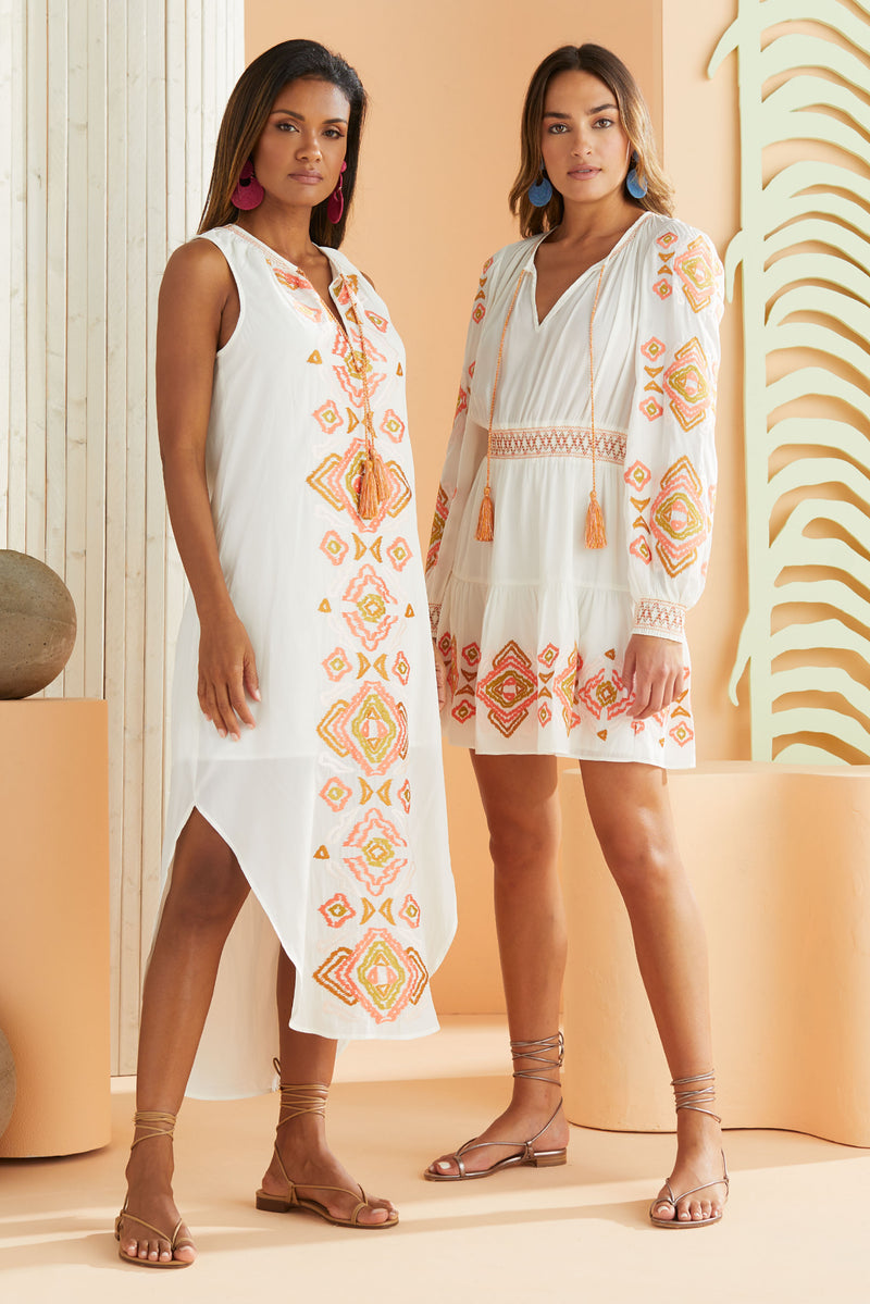 Models wearing the summer orange and yellow Ikat Embroidered