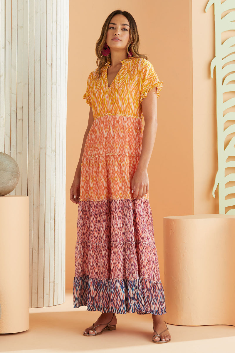 Short sleeve tiered maxi dress in multi color print