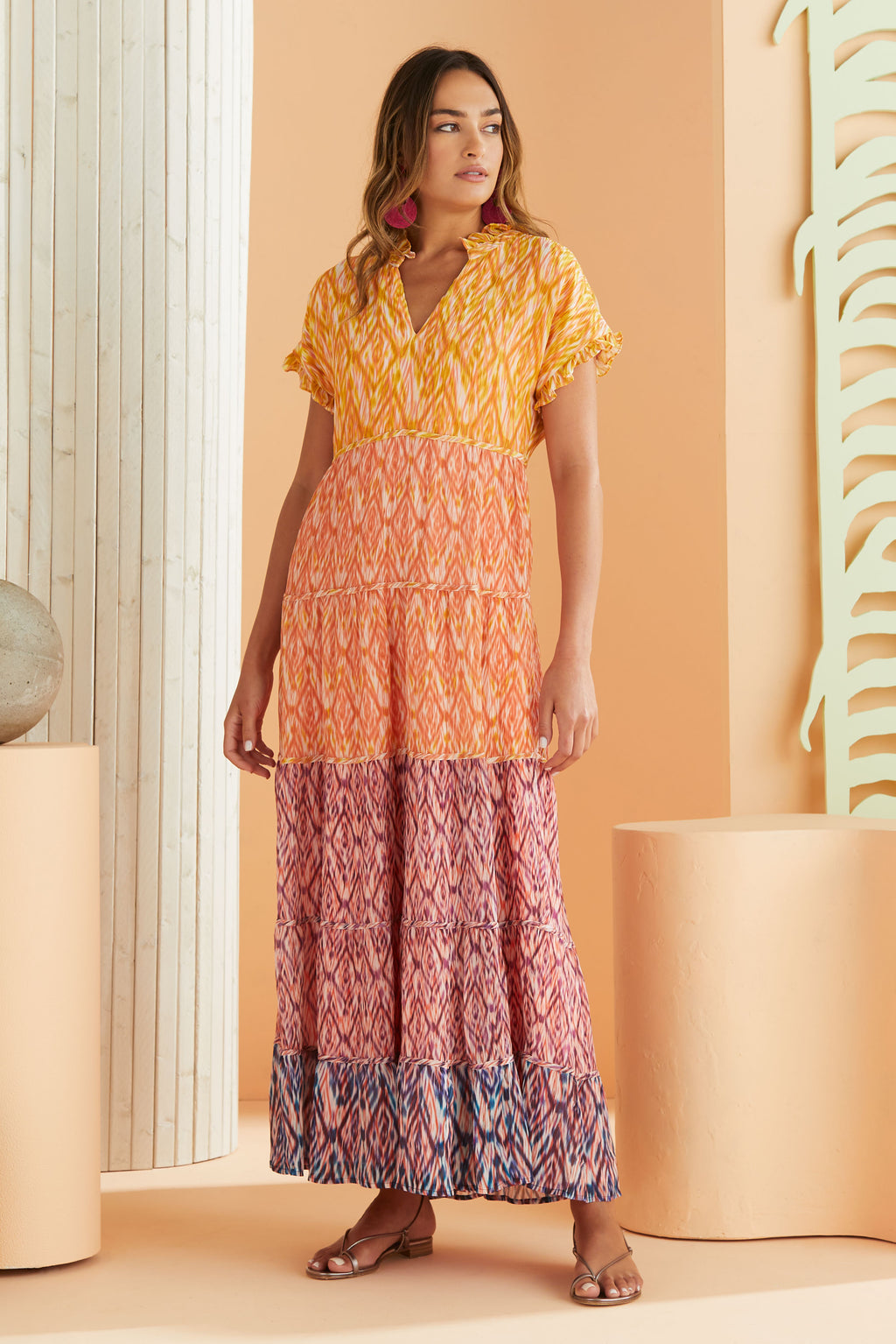 short sleeve maxi dress in our multi color ikat print