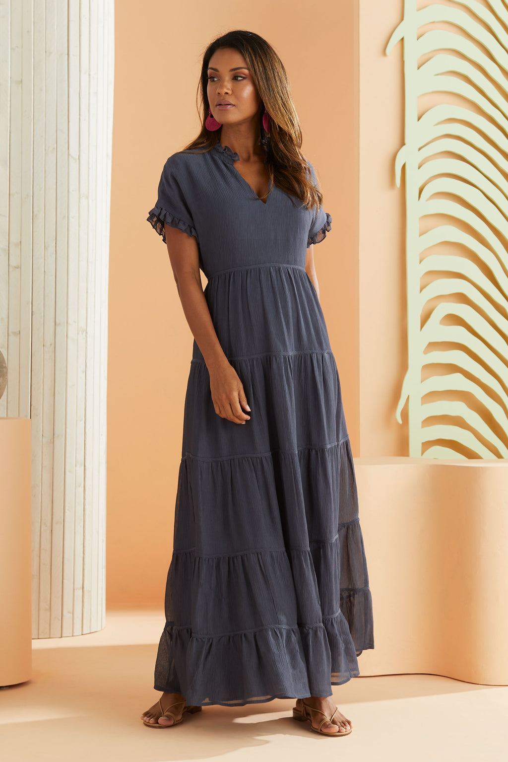Short sleeve maxi dress in navy