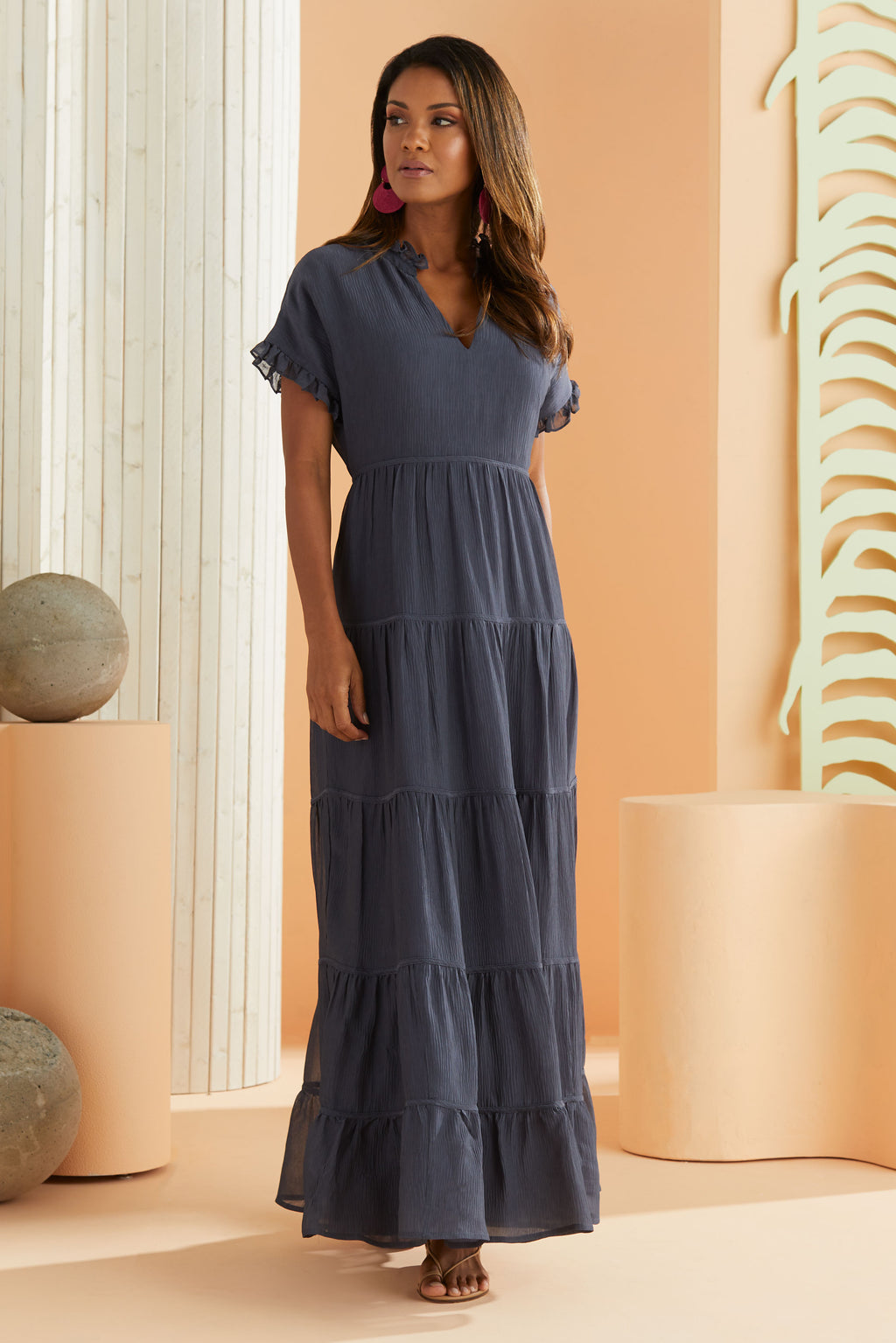 tiered maxi dress in navy